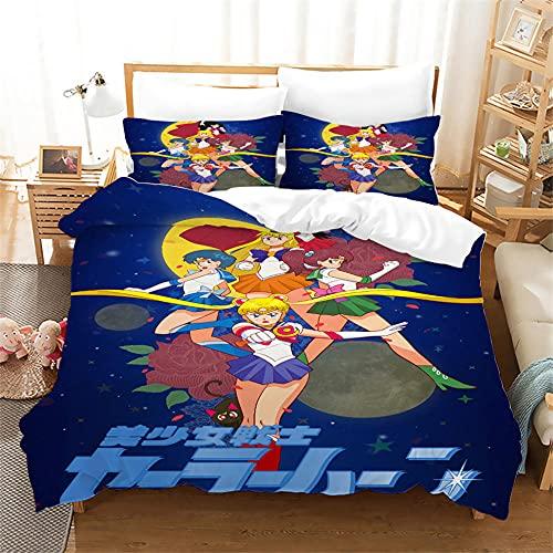 Sailor Moon Funda Nordica 155 X 220 Cm Funda Nordica Microfibra Suave De Calidad Hotelera con Cremallera Y 2 Fundas De Almohada De 40X75Cm 1 Persona