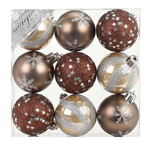 Magic 9 Pezzi Palline in PVC per Albero di Natale, 6 cm (Beige/Marrone) // Decorazione in plastica infrangibile per Albero di Natale, 60 mm
