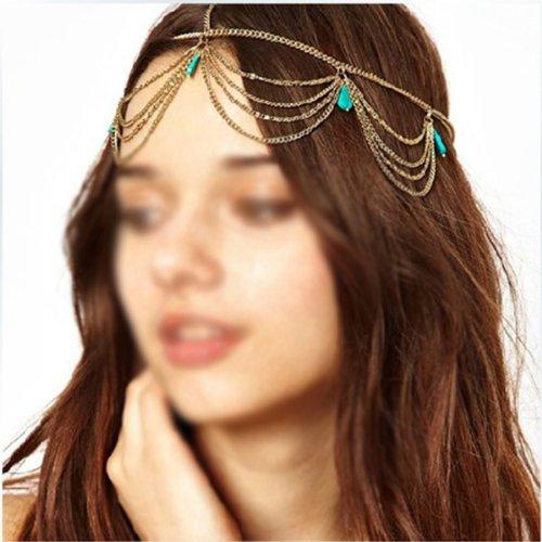 HuntGold Generisches Frauen Mädchen Boho Sexy grüne Stein Quasten Stirnband Gliederkette Cuff Kopfstück