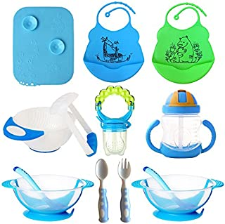 Baby Feeding Set, Complete & Best Value Gift, For Any Occasion, Loving Baby Includes: 2 Bibs| 2 Bowls w/Lid & Spoon| Placemat| Mash Bowl w/Tool| Sippy Cup| Fruit Pacifier w/Rattle| Spoon & Fork (Blue)