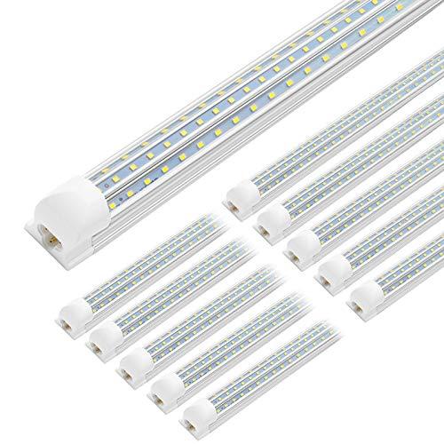 JESLED 8FT LED Shop Light, 90W Linkable 8 Foot LED Lights Fixture, 10800 Lumens, 5000K Daylight, Triple Row D Shape LED Tube, High Output Bay Lighting for Garage Warehouse Workshop Basement(10-Pack)