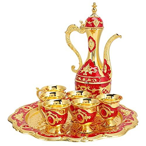 Cafetera turca vintage con 6 tazas de café, juego de té turco de metal que incluye bandeja de té artesanal, tetera y tazas de té para regalo de boda(rojo)