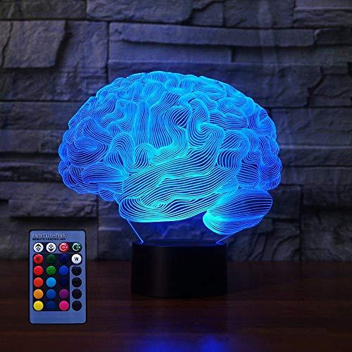 3D Cerebro Ilusión Lámpara luz Nocturna 7/16 Colores Cambiantes Control Remoto USB de Suministro de Energía Juguetes Decoración Regalo de Cumpleaños Navidad