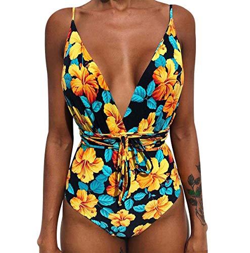 Traje de baño de 1 pieza, espalda desnuda, diadema, reductor, gran talla Monokini Mayo de baño, una pieza, bikini de baño floral, acolchado, triángulo, vientre plano, piscina, natación, playa
