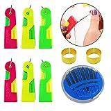 6 piezas Dispositivo de Hilo de Aguja Enhebrador de Aguja automático Enhebrador de Aguja de Coser a Mano y máquina de Coser Aguja Fast Lead Con dos dedales y una caja de agujas de coser