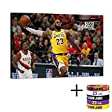 Lebron James Dunks Canvas Wall Art Los Angeles Lakers 23th Picture NBA Super Star Art Work for Home Wall Decor, Lebron James Posters for Men Boys Room Decorations for Bedroom, Office (12' W18 H)