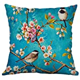 Xmiral Kissenbezüge Kissenhüllen Leinenmischung Blume Vogel Drucken Schmücken Kopfkissenbezug...