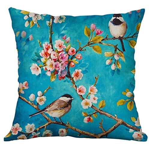 Xmiral Kissenbezüge Kissenhüllen Leinenmischung Blume Vogel Drucken Schmücken Kopfkissenbezug 40x40cm(D)