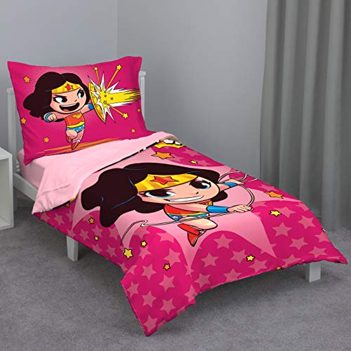 Wonder Woman Pink, Gold, Red & Blue 4Piece Toddler Bed Set - Comforter, Flat Top Sheet, Fitted Bottom Sheet, Reversible Standrd Size Pillowcase, Bright Pink, Light Pink, Gold, Red
