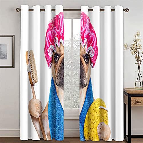 YUNSW Cortinas 3D Realistas para Cachorros, Sala De Estar, Dormitorio, Habitación para Niños, Cortinas Decorativas Opacas, Juego De 2 Piezas (Total Width) 160x(Height) 160cm