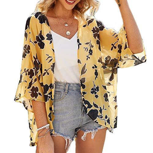 ECOMBOS Damen Florale Kimono Cardigan - Chiffon Tops Cardigan Bluse Shawl Sommer Beachwear Cover up Leichte Boho Strand Jacke (Gelb, S)