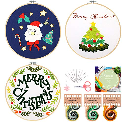 Santune 3 Sets Embroidery Starter Kit with Pattern and Instructions, Cross Stitch Set, Stamped Embroidery Kits with 3 Embroidery Clothes with Plants Christmas Pattern, 1 Embroidery Hoops