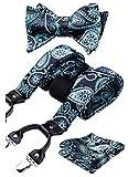 HISDERN Tirantes para hombres Tirantes de corbata Conjunto de panuelo de bolsillo ajustable con corbata de lazo ajustable