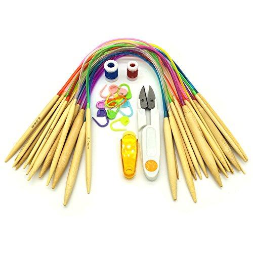 DOITEM Juego de Agujas de Punto Circular, 18 Pares 40 cm Tubo de bambú Agujas de Ganchillo de Colores Circulares Tejer con Fila Contador Plástico Bloqueo Puntadas Fabricantes Tijeras