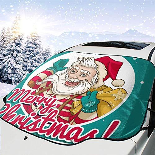 Dataqe Retro Santa Claus 149,9 x 116,8 cm Faltbare Auto-Windschutzscheibe, Sonnenschutz und Hitze-Reflektor, Auto-Markisen sind geeignet für die meisten Autos, hält Ihr Auto kühl