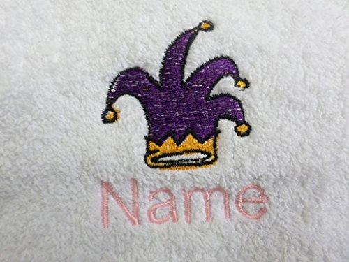 Albornoz con capucha para bebé de color blanco o blanco con capucha toalla con un Jesters gorro Logo y nombre de su elección., Blanco, Baby Robe 0-9 months