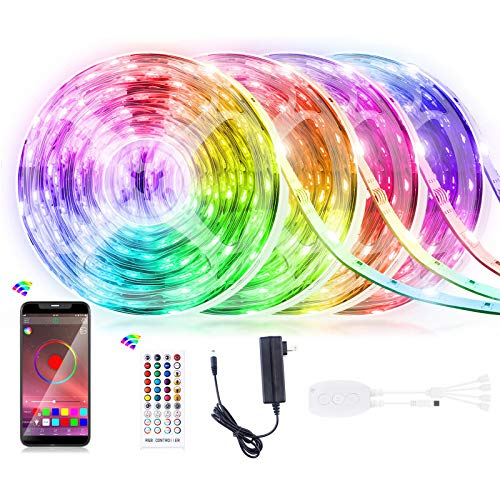 65.6FT LED Strip Light, Homiar Smart 5050 RGB Light Strips, 360LEDs Color Changing Tape Lights, Music Sync Rope Lights Kit with 40 Keys IR Remote Control for Party Home Holiday Decoration - 4 Pack