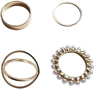 ZHUPI شخصية الأزياء 4 قطع المرأة الهيب هوب لؤلؤة خواتم الملحقات الأزياء والمجوهرات الدائري