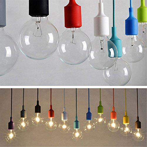 Mini Abat-jour Coloré Lampe de Plafond Suspendue en Silicone Lustre Suspension Décor Bar Maision Jardin (sans ampoule) (1m, Violet)