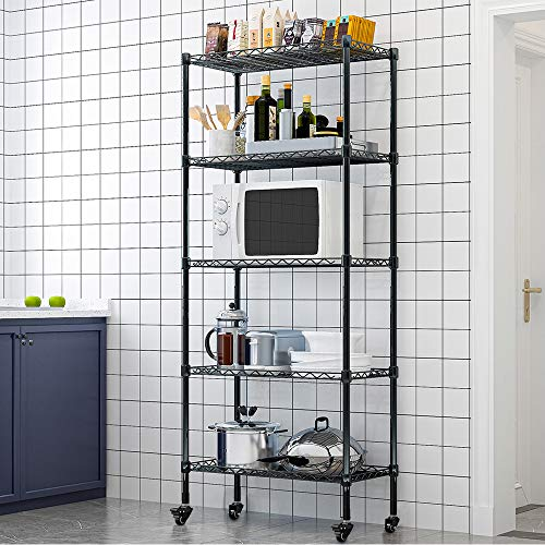 LENTIA Küchenregal stabil Lagerregal Standregal 5 Regalböden Metallregal Regal für küche Haushaltsregal mit Rollen Schwarz 157 * 35 * 75cm bis zu 30 kg pro Regalboden