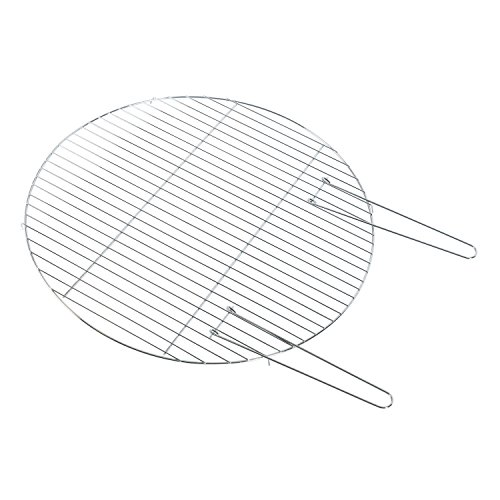 HOMESCAPES BBQ Grill for Fire Bowl Circular Steel Barbeque Grill with Handles for Fire Pit, 60cm Diameter