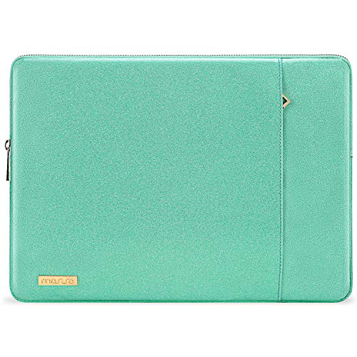 MOSISO Laptop Sleeve Compatible with 13-13.3 Inch MacBook Air/MacBook Pro Retina/2019 Suface Laptop 3/Surface Book 2, PU Leather Vertical Style Super Padded Bag Waterproof Case,Shining Mint Green