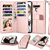 Njjex Compatible with LG Stylo 6 Case/LG K71/LG Stylus 6/LG Stylo 6 Wallet Case, [9 Card Slots] PU Leather ID Credit Holder Folio Flip [Detachable] Kickstand Magnetic Phone Cover & Lanyard [Rose Gold]