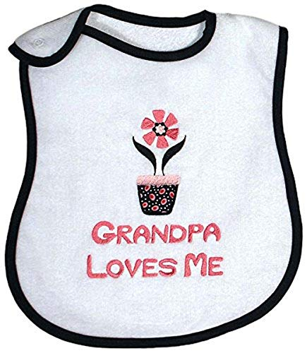 Raindrops Grandpa Loves Me Embroidered Bib, Black