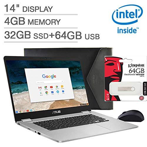 "Latest_ASUS 14.0"" FHD Chromebook Laptop,Intel Celeron N3350 Processor,4GB LPDDR4 RAM, 32GB SSD+ 64GB External Storage, Webcam, Chiclet Keyboard,WiFi+ Bluetooth, HDMI, Chrome OS, Bonus Mouse & Sleeve"