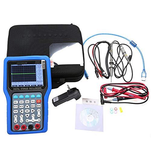 Osciloscopio digital con multímetro, JDS3012A de mano 250MSa/S 30MHz 2CH Osciloscopio digital con 6000 multímetro AC100-240V(Azul)