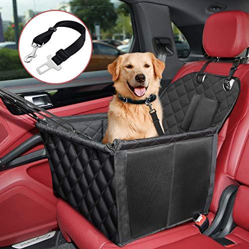 KYG Hundesitz Auto Fast wasserdichtes Material für Hundeautositz Vordersitz und Rücksitz Langlebig Reißfest Seitenschutz Autositz für Hunde mit Sicherheitsgurt