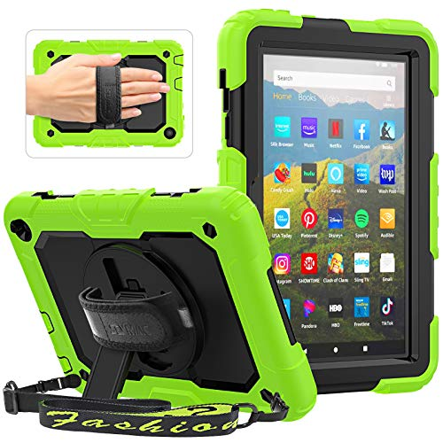 SEYMAC Cover for All-New Amazon Fire HD 8 Tablet and Fire HD 8 Plus (10th Generation, 2020 Released), Sturdy Case with Shoulder Strap, 360 Rotating Hand Strap/Stand, Screen Protector for Kids, Green