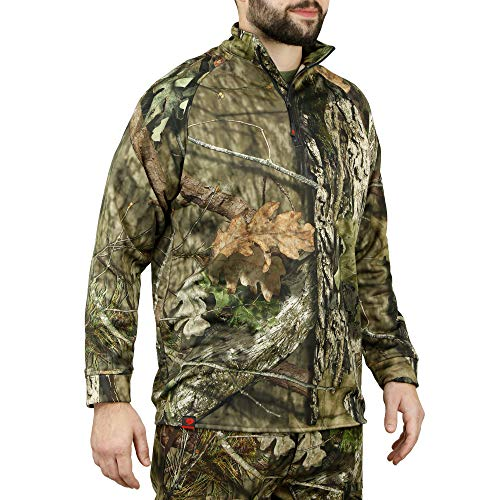 Mossy Oak Camo Hunting Jacket for Men Fleece Quarter Zip Pullover, Break-Up Country, X-Large