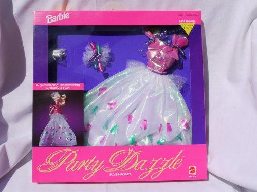 Barbie Fiesta Dazzle -Vestido blanco iridiscente con detalles verdes, fucsia y púrpura (1992)