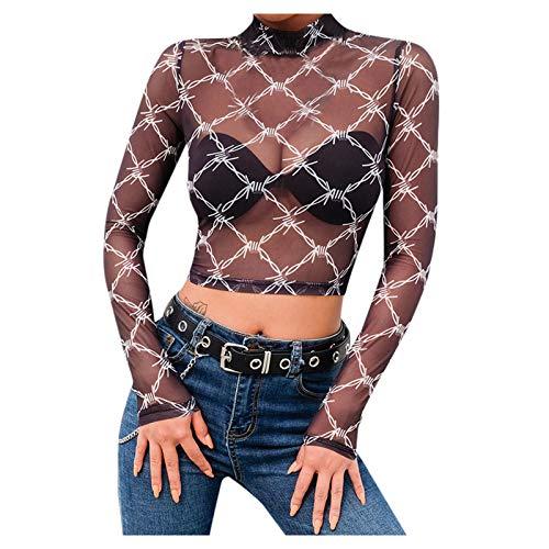 YANFANG Blusa con Estampado de Espina de Gasa Negra Transparente Sexy para Mujer,T-Shirt Primavera y Verano Blusa Moda Casual Camiseta Regalo Ropa de San Valentín