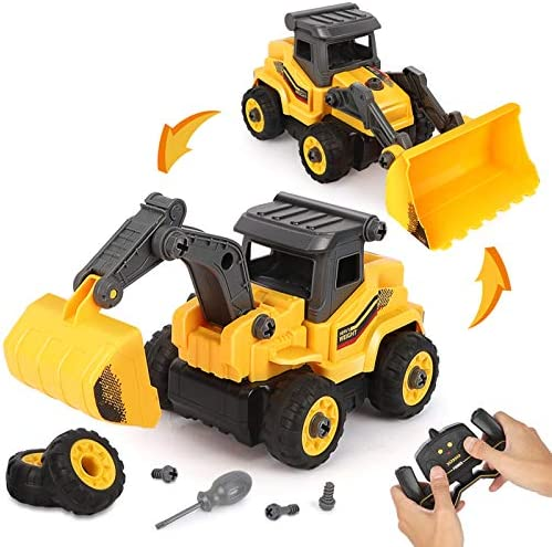 BeebeeRun Take Apart Construction Toys Construction Trucks for Boys 2 in 1 RC Construction Vehicles product image