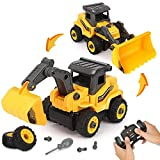 BeebeeRun Take Apart Construction Toys - Construction Trucks for Boys - 2 in 1 RC Construction Vehicles - Remote Control Excavator and Bulldozer Toys for Boys, Gift for 3 4 5 Year Old Boy & Kid
