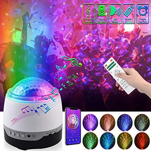 LED Projektor Sternenhimmel Lampe,Musik Projektor Licht,Kinder Nachtlicht Baby Ozeanwellen projektor Wasserwellen Sterne Led mit Bluetooth,für Schlafzimmer,Fernbedienung,Weihnachten,Party