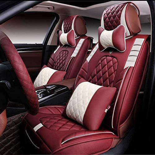 Lykaci Leder Autositzüberzug, Universal Rautengitter Autositzkissen Schutz für 5 Sitze, 9-teiliges Set (Color : Red)