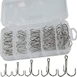 Drasry Fishing Treble Hooks Set for Saltwater Freshwater Size 1/0 to 16 High Carbon Steel Different Fish Hook 50pcs/Box (50pcs Silver 2#--10#)