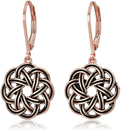 14k Rose Gold Plated Sterling Silver Celtic Knot Leverback Dangle Earrings