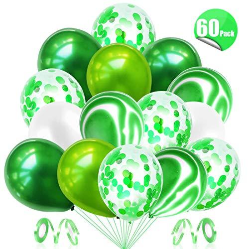 Bluelves Luftballons Grün, Grüne Ballons,Konfetti Luftballons 60 Stück, Geburtstagsdeko Ballons Grün, für Deko Geburtstag Junge, Dschungel Kindergeburtstag, Hochzeit Luftballon