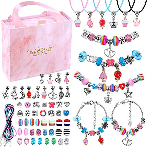 Charm Bracelet Kit, Flasoo 75 Pcs Jewelry Kit with Charm Beads for Bracelet Jewelry Making Crafts, New Year Present, Birthday Gift, Christmas Gifts for Girls Age 6-14