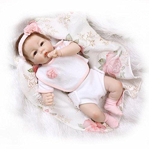 NPKDOLL Reborn baby pop zachte halve siliconen vinyl 20inch 50cm magnetische mond levensechte jongens meisjes speelgoed roze jurk pruik A1DE