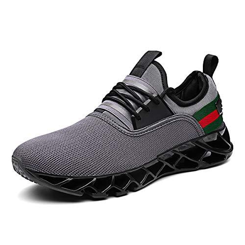 BONASHIVI Herren Fitness Laufschuhe Atmungsaktiv rutschfeste Mode Sneaker Sportschuhe grau 38