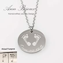 Actual Footprint and Handprint Stainless Steel Necklace New Born Baby Jewelry Personalized Gift New Mom Present Miscarriage Memorial Jewelry