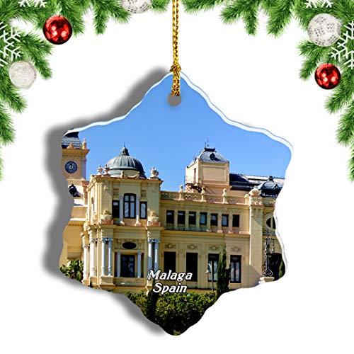 Weekino España Gibralfaro Castillo Málaga Decoración de Navidad Árbol de Navidad Adorno Colgante Ciudad Viaje Porcelana Colección de Recuerdos 3 Pulgadas