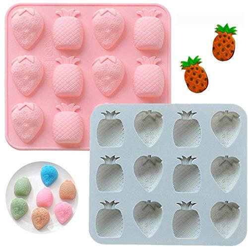 INTVN Bonbonsform Eiswürfelformen Silikonform Frucht Ananas Erdbeere Backform für Schokolade Jelly Seifen Süßigkeiten Formen 2 Stück (Rosa & Blau)