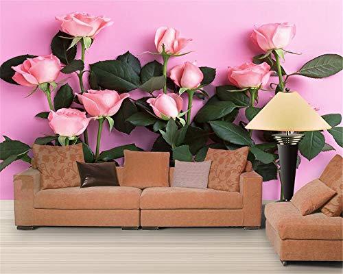 BHXIAOBAOZI eigen 4D muurschildering groot behang, groene bladeren en roze roos planten, moderne Hd zijde muurschildering poster afbeelding TV sofa achtergrond muur decoratie voor woonkamer 400cm(W)×250cm(H)|13.12×8.2 ft
