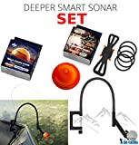 Deeper Smart Sonar Pro + Plus Zubehör Set + Smartphone Halterung + Night Fishing Cover + Flexarm